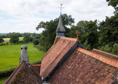 aerial photograph using a drone of a church roof